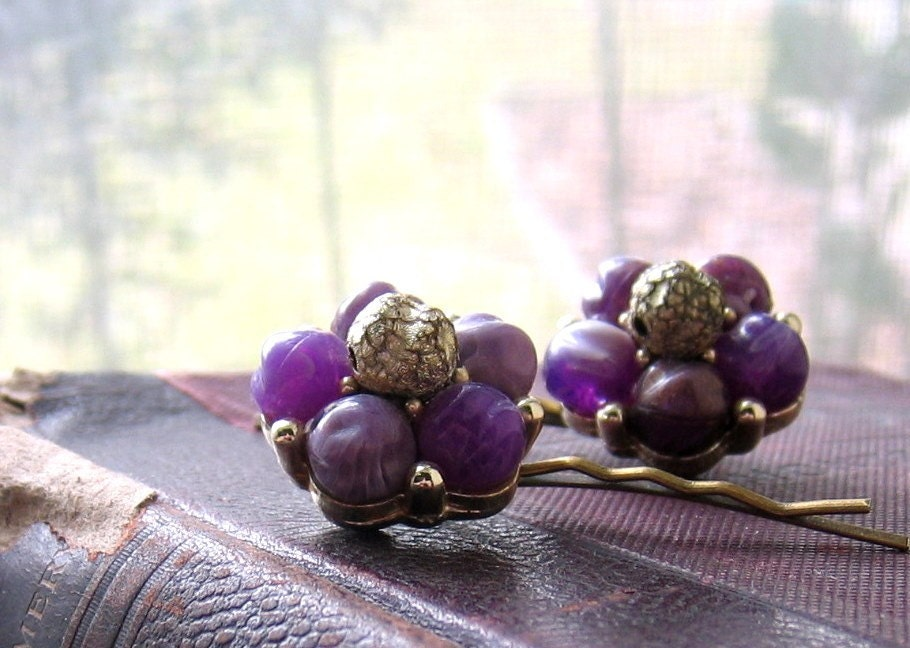 Recycled Vintage Bobby Pin Set Purple Berries