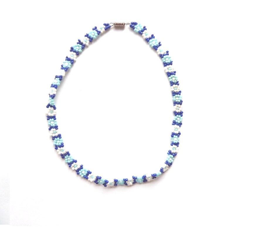 Festival Choker  Beaded Flower Necklace  Blue