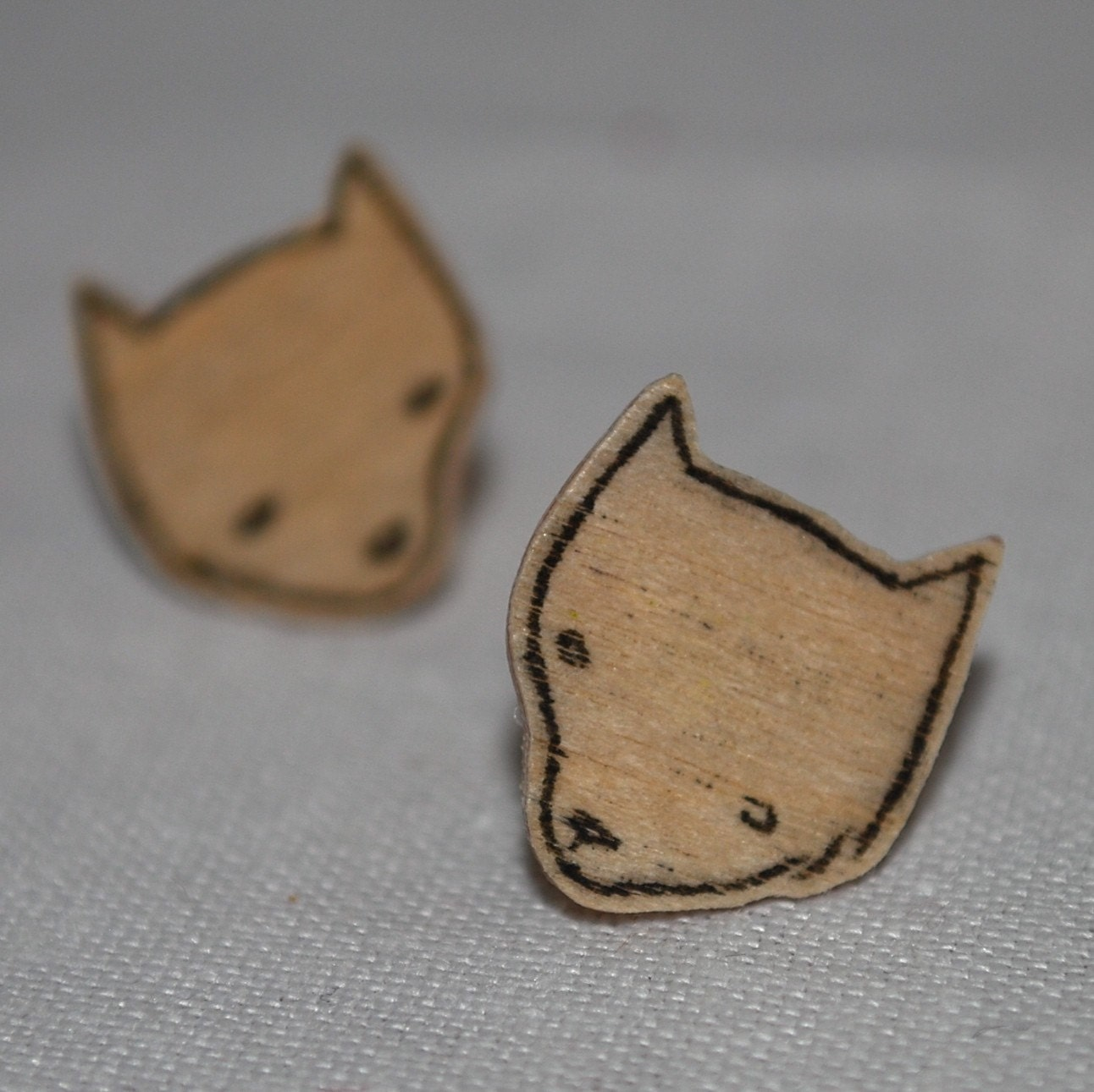 wood fox earrings