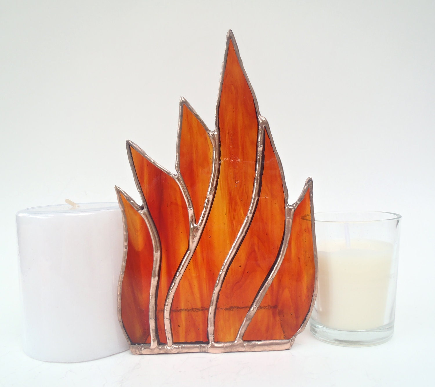 Stained glass candle holder flames handcrafted - Nostalgianmore