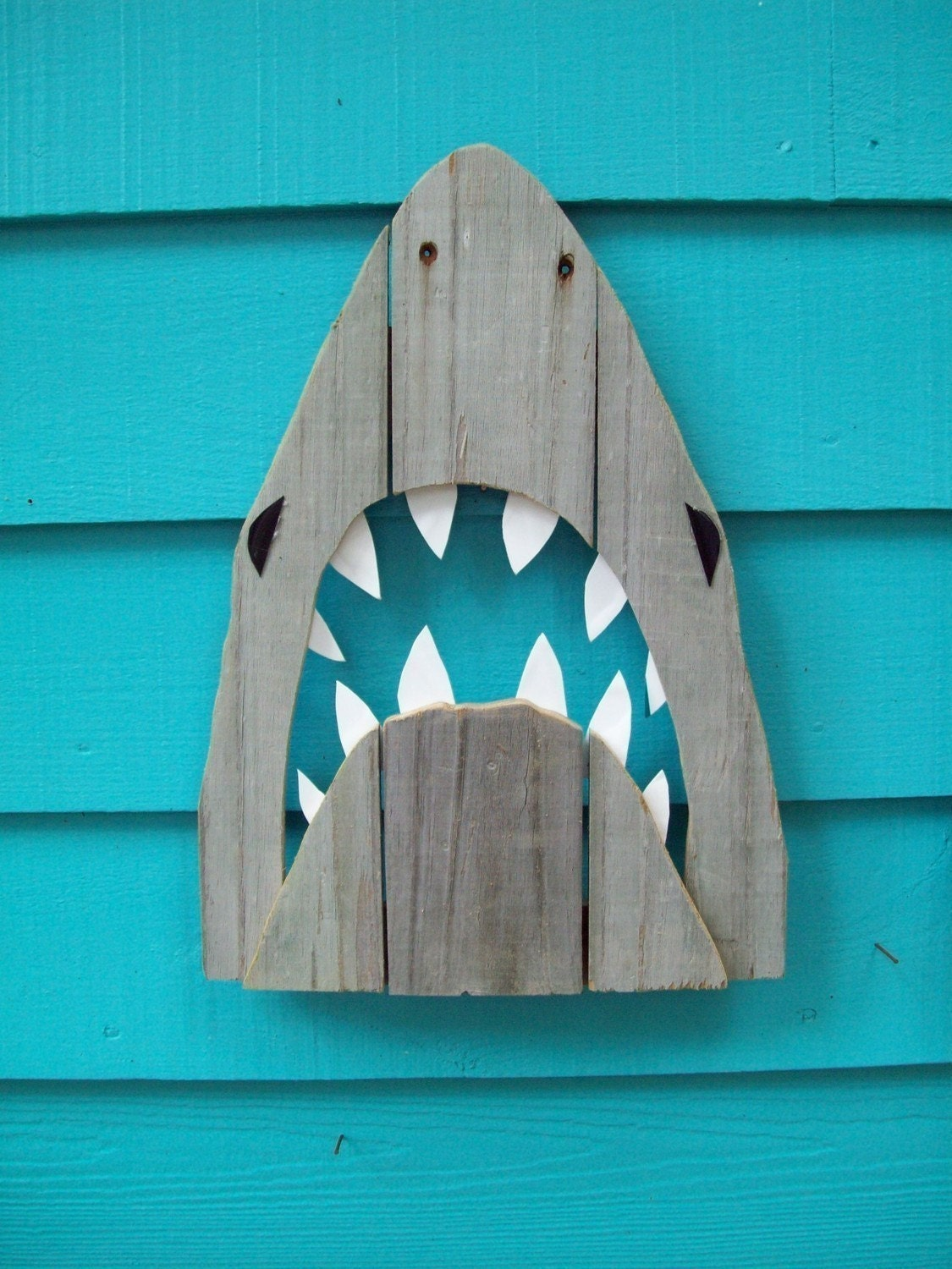 Shark made of recycled fence wood. JAWS, Great White, outdoor art