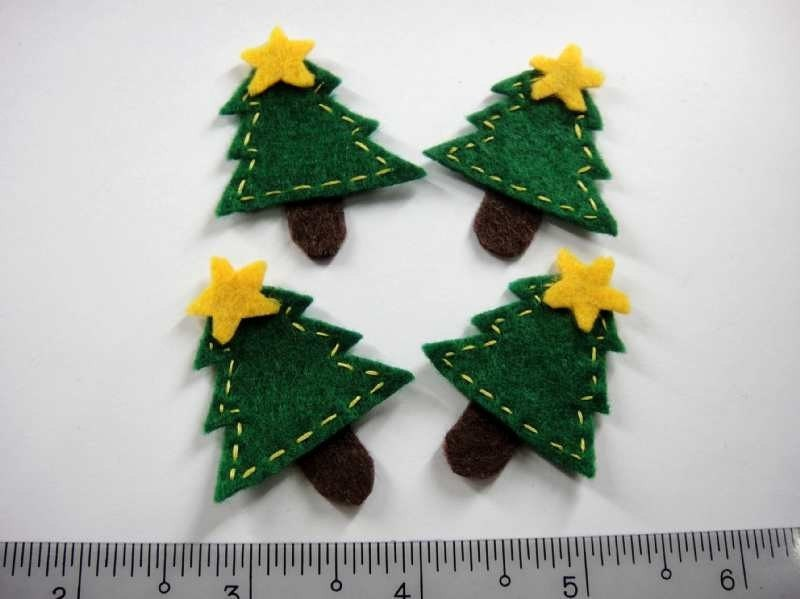 Felt Applique - CHRISTMAS TREE - 4 PCS - Handmade