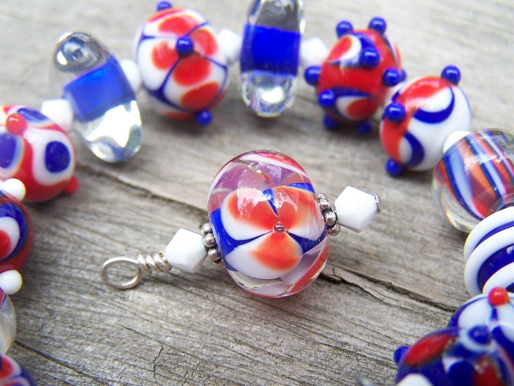 patriotic lampwork glass beads