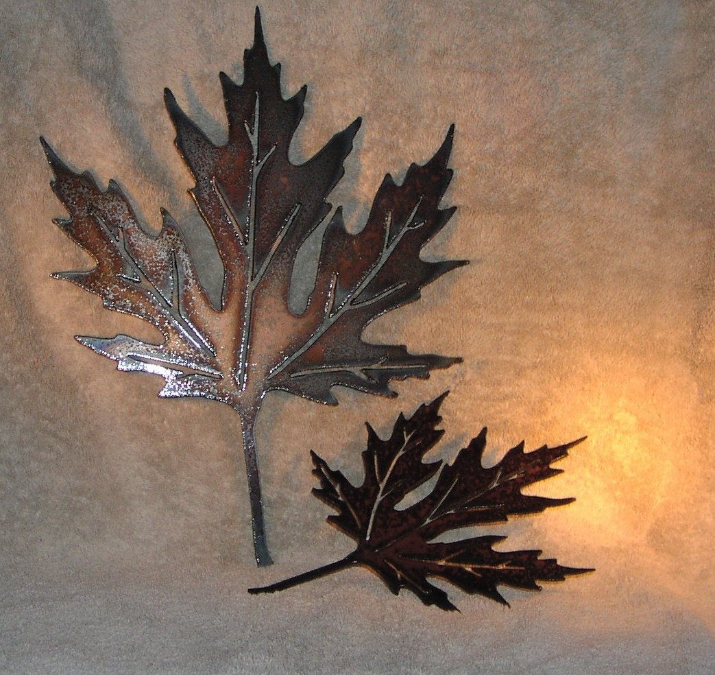 Wall Art Red Leaves : Autumn leaves metal wall decor suitable for by frolicnfriends