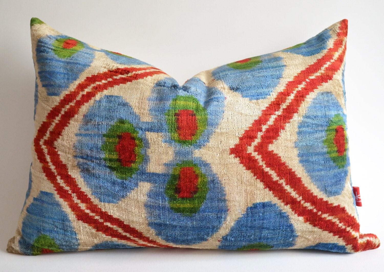 Sukan / Hand Woven Silk Velvet Ikat Pillow Cover, Lumbar Pillow - Decorative Ikat Throw Pillow Cover - Red Green Ivory Blue