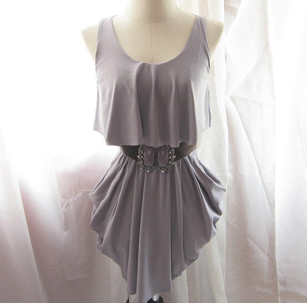 Dusk Misty Gray Grecian Goddess Elegant Ruched Hem Spartan Dress