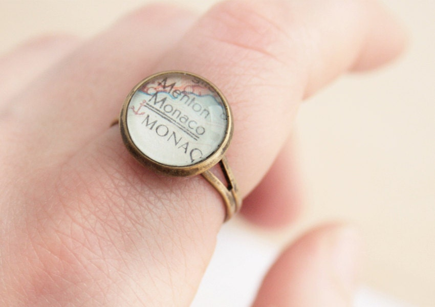 Map Ring Customized Ring Bronze Round Smal Vintage World Map Ring for Traveller Personalized Jewellery Destination Wedding Location Jewelry