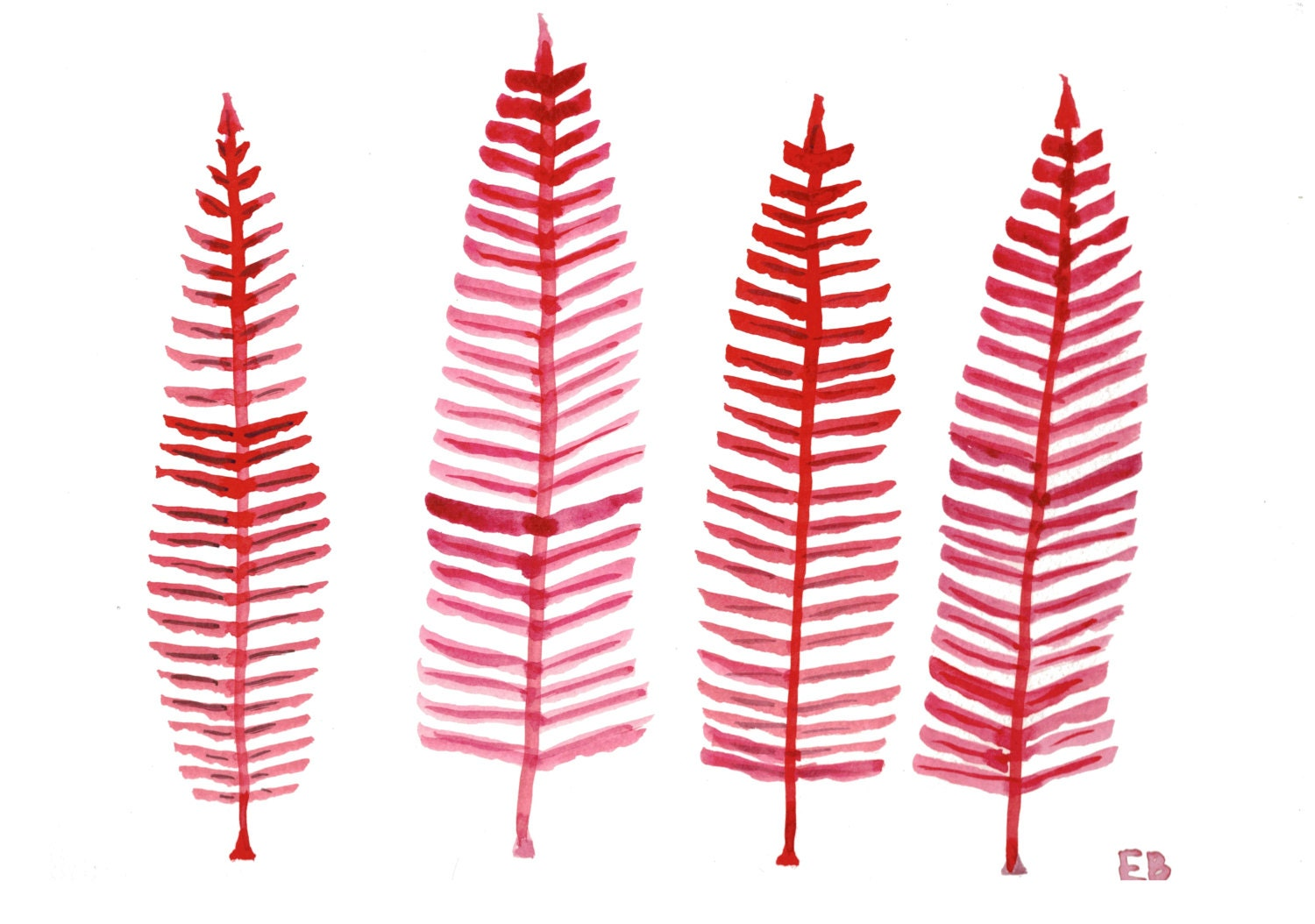Original Red Ferns Painting, Red Watercolor Ferns with hues of pink, Fall leaves Ink Drawing - WishlistArt