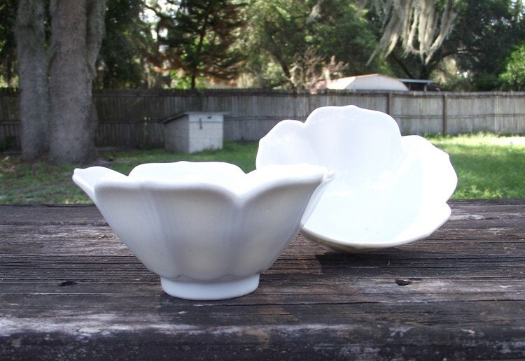 Pair of White on White China Lotus Bowls