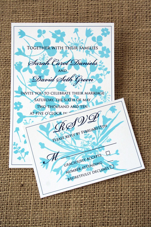 Modern Rustic Flower Wedding Invitation SAMPLE