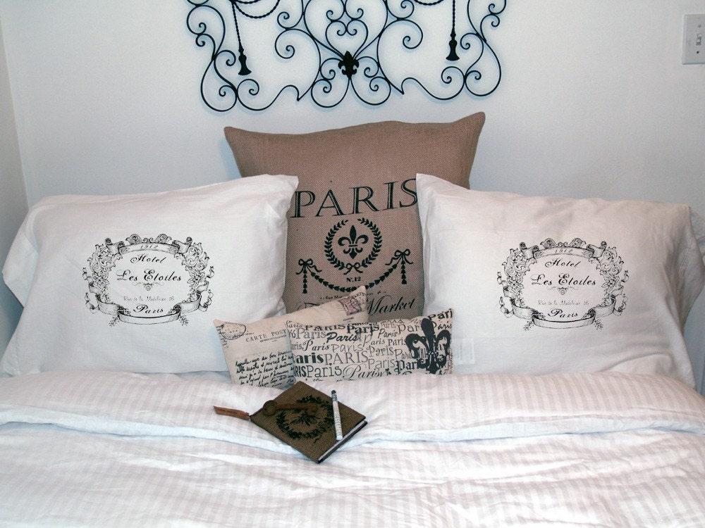 French Market Set of 2 Standard Pillowcase Covers Paris Hotel Les Etoiles - 300 Thread Count Cotton