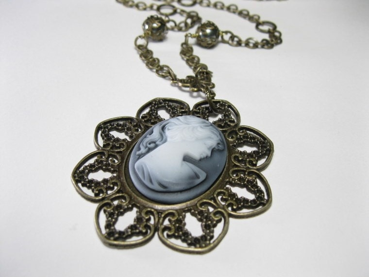 Swarovski Victorian Style Brass Cameo Pendant Necklace