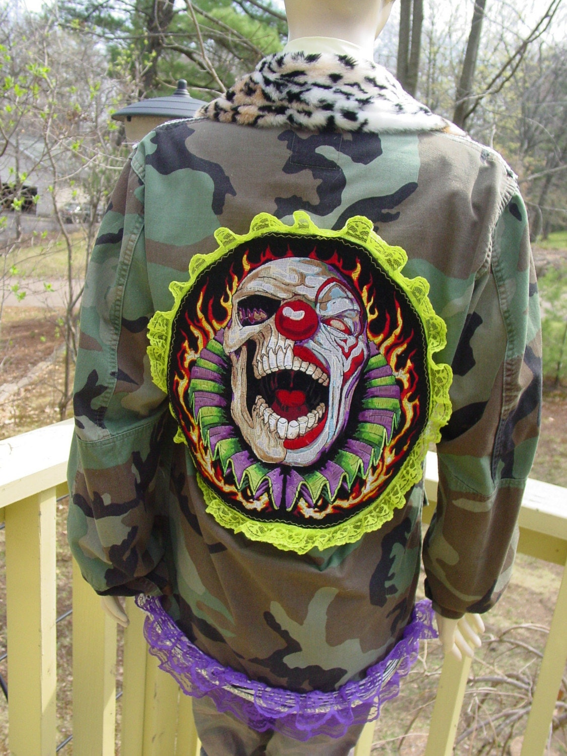 altered army jacket Killer CIRCUS clown vintage trims, buttons, faux fur OOAK by C. Reinke