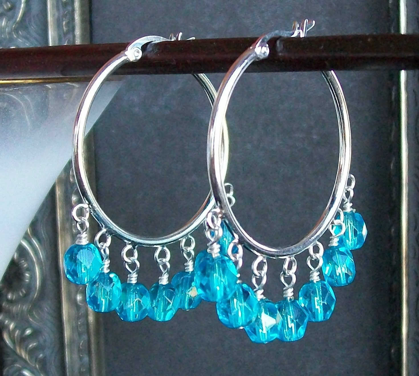 Turquoise Blue and Silver Cha Cha Hoop Earrings by shannonsroom from etsy.com