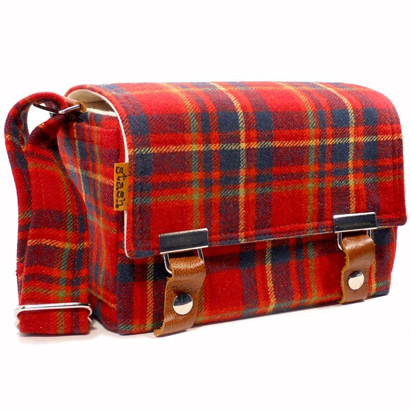 Small Stash DSLR camera bag - red, blue and green vintage wool plaid