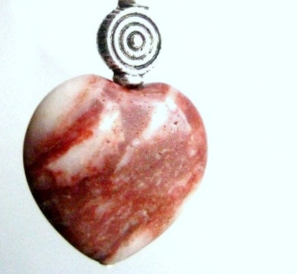 Irish Jewelry. Cork Red Marble Pendant. Red Heart.  Love & Truth