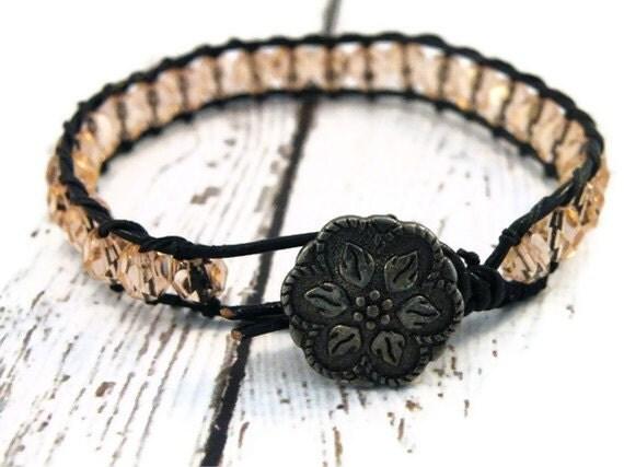 Boho Peach Czech Beaded on Black Leather Wrap Bracelet/ Soft Blush/ Boho Feminine Chic/ Free Shipping - GloryGift