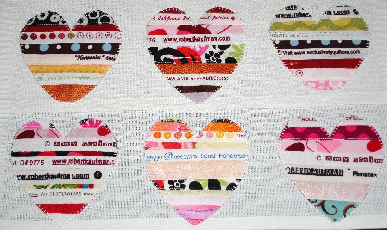 Selvage Hearts - Fabric Trimmed Tea Towels/Set of 2