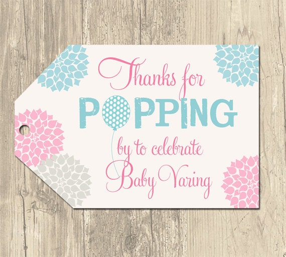 Ready to Pop Balloon Baby Shower Favor Tags- Printable by ...