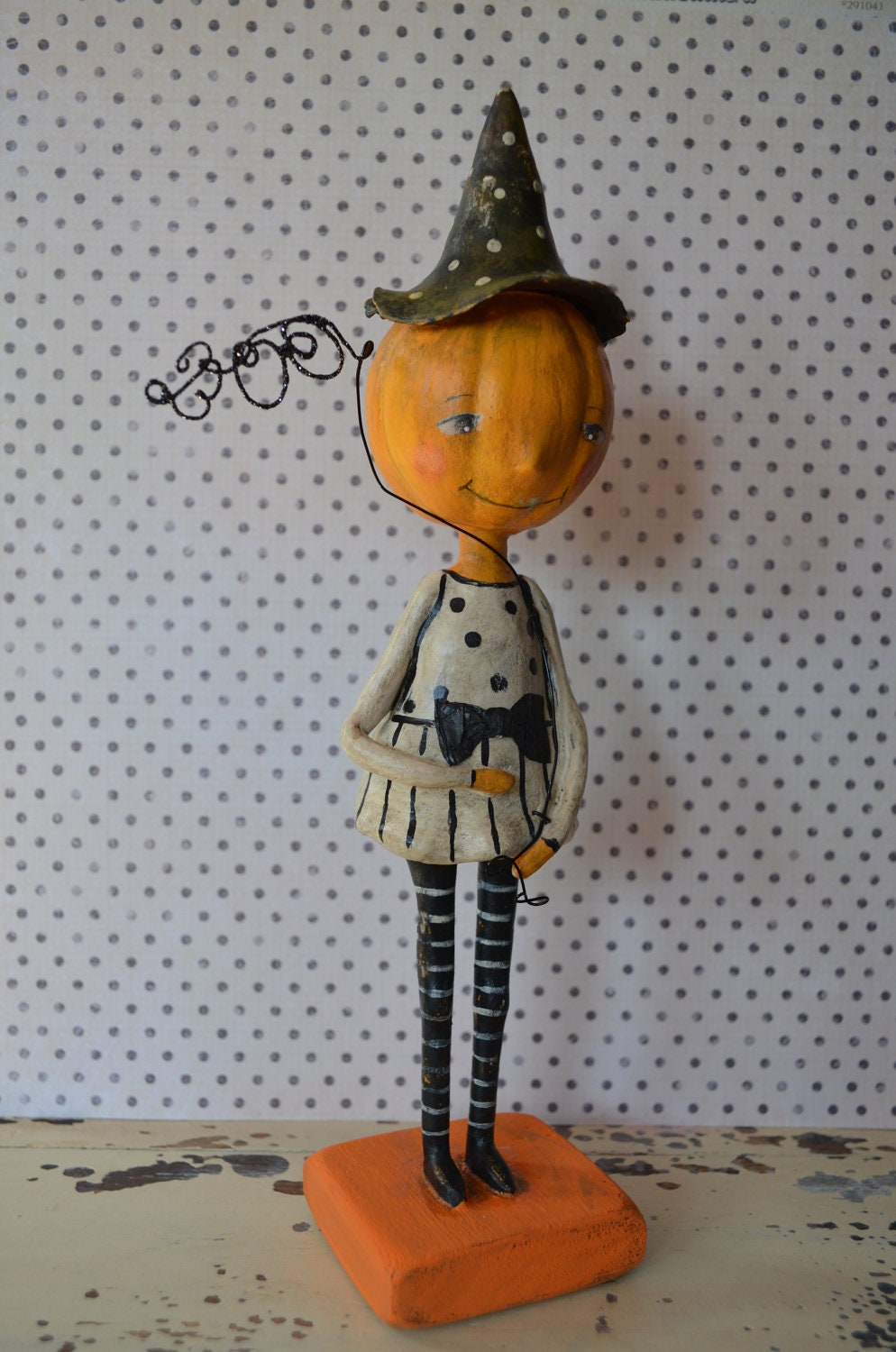 "Halloween Folk Art ""Pumpkin BOO Doll"" Paperclay"