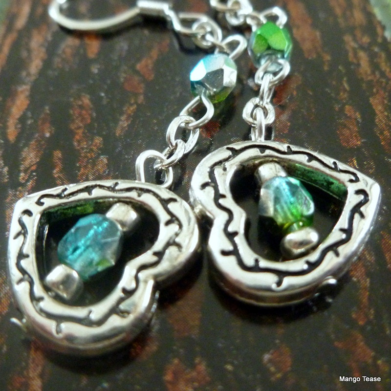 Sideways Heart Blue Green Earrings Czech Glass Silver Heart - MangoTease