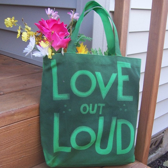 Love Out Loud Graffiti Tote - Black on Green