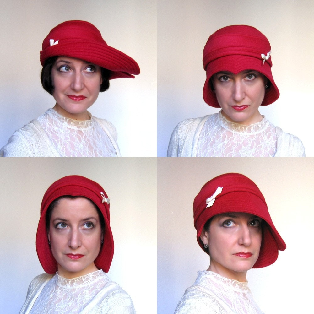 Sweetheart rose red cloche - wool hat for women