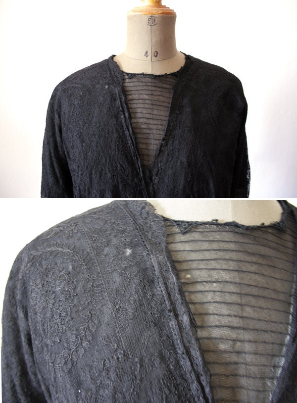 Antique Lace Blouse // Valenciennes Black Lace blouse. - LaSartoria