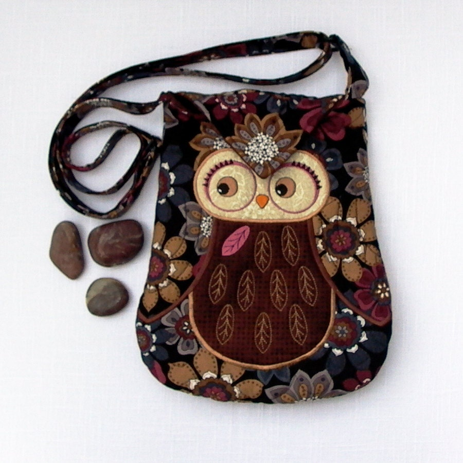 "Owl Small Quilted and Embroidered Shoulder Bag Cross Body Fabric Purse ""Tihana"" in brown, tan, floral on black - seablossomdesign"