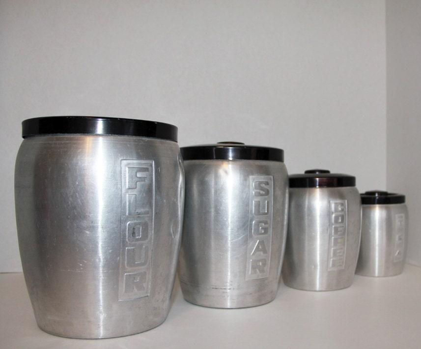 vintage aluminum canister set 4 nested kitchen by trulytina