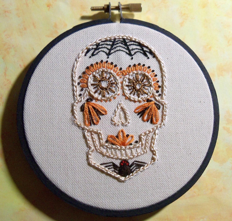 Macabre sugar skull home decor ornament orange by for Skull home decor