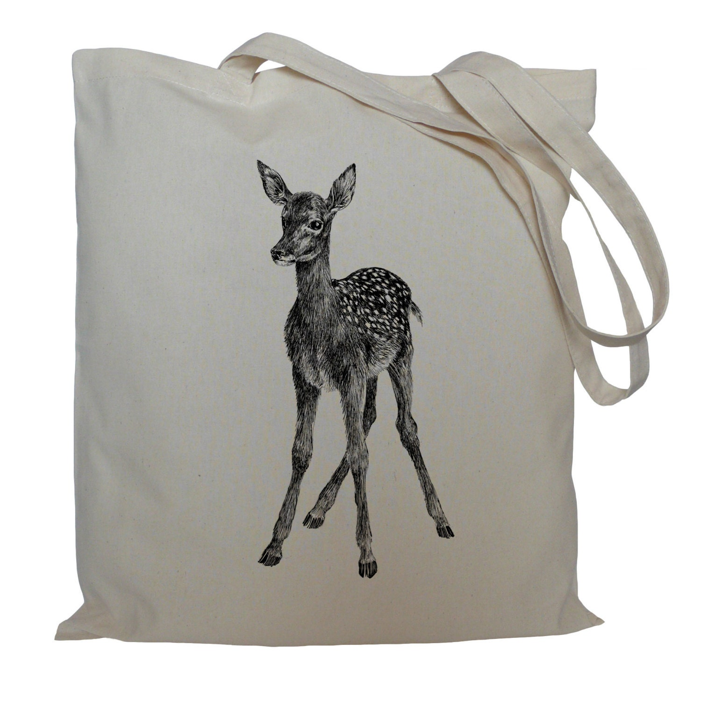 Tote bag drawstring bag deer cotton bag material shopping bag shoe bag storage animal market bag
