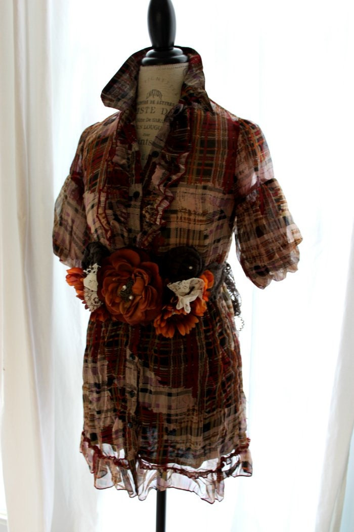 romantic plaid dress, funky womens clothing, autumn browns, small