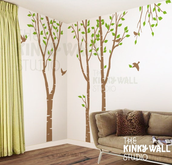Birch trees forest wall decal living room wall by kinkywall for Birch trees wall mural