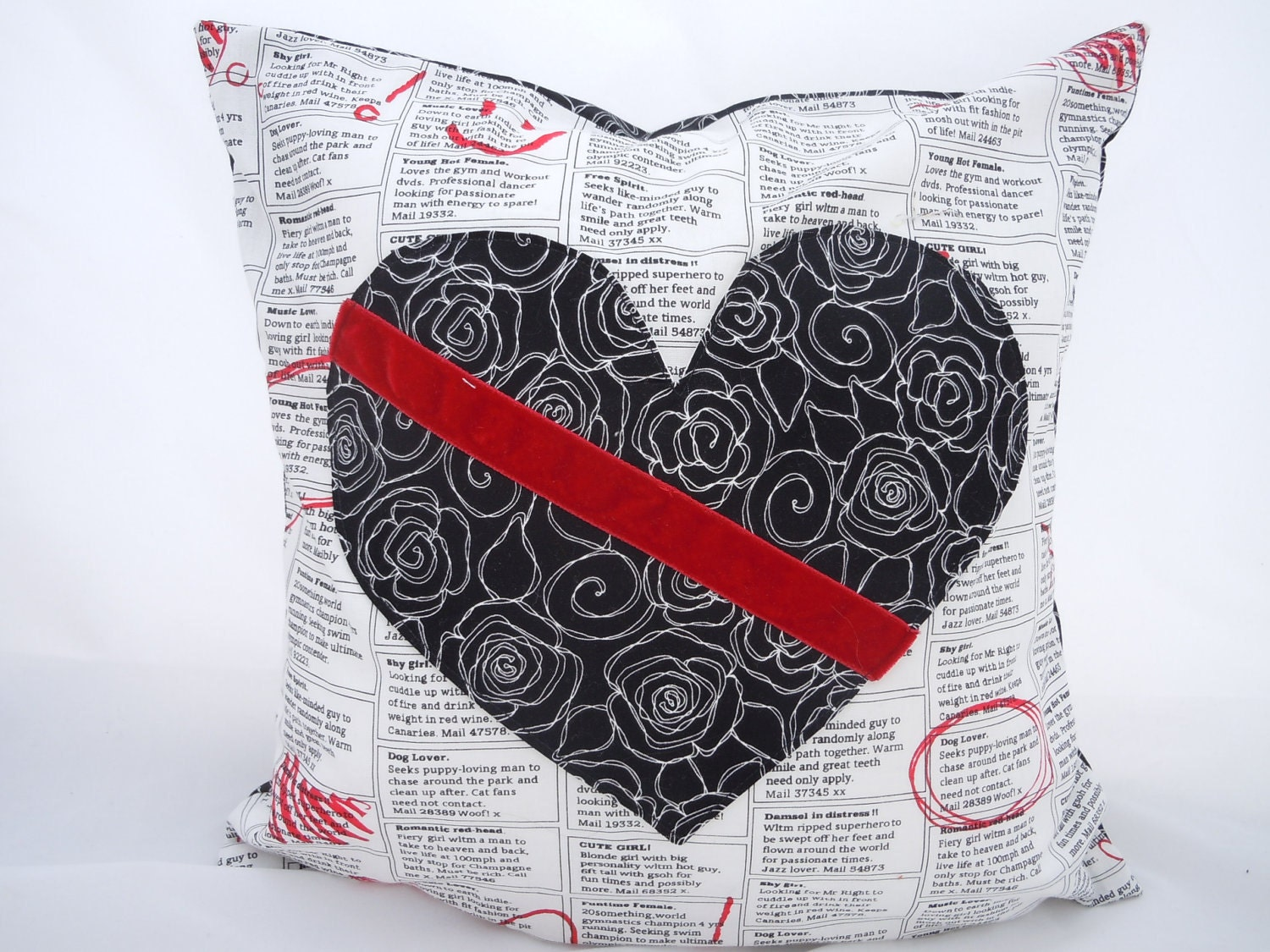 Heart  Pillow, Black, White and Red Love and Romance