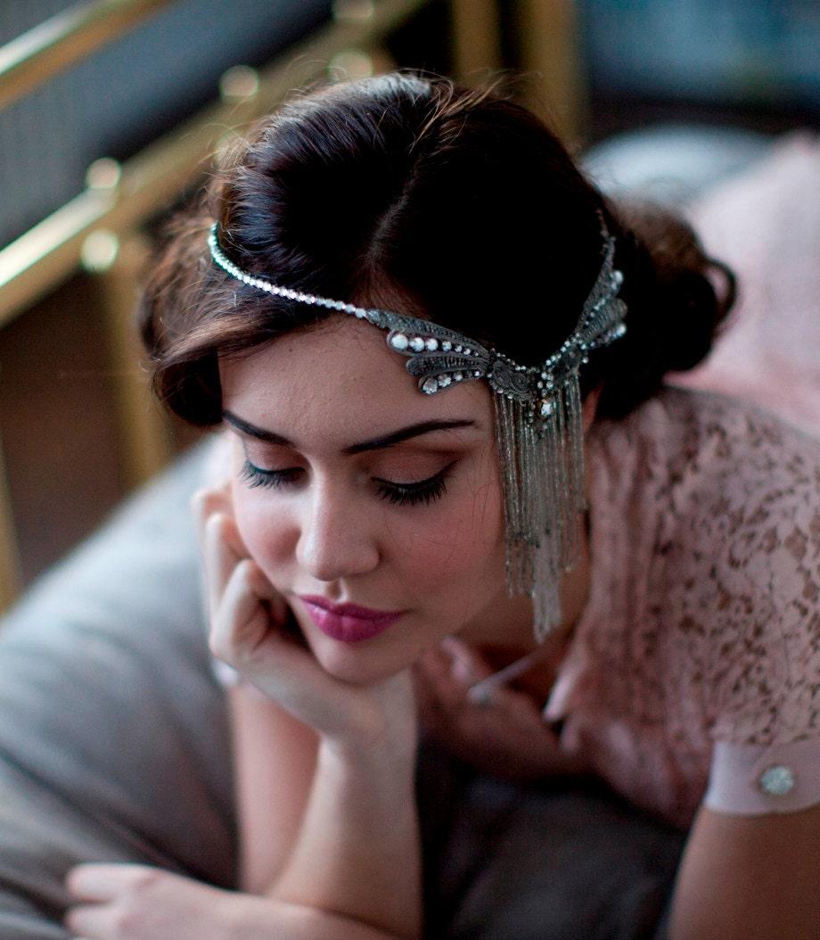 1920s Flapper Headpiece.Antique Art Nouveau Headress.Bohemian Bridal Headpiece. - AgnesHart