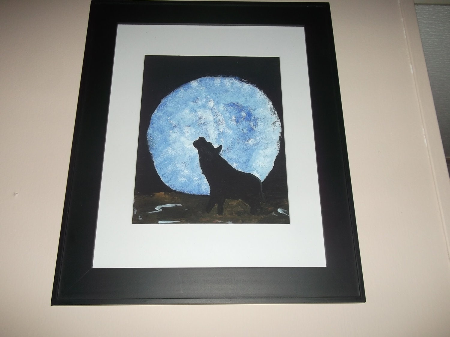 By the Light of the Blue Moon With Wolf Painting