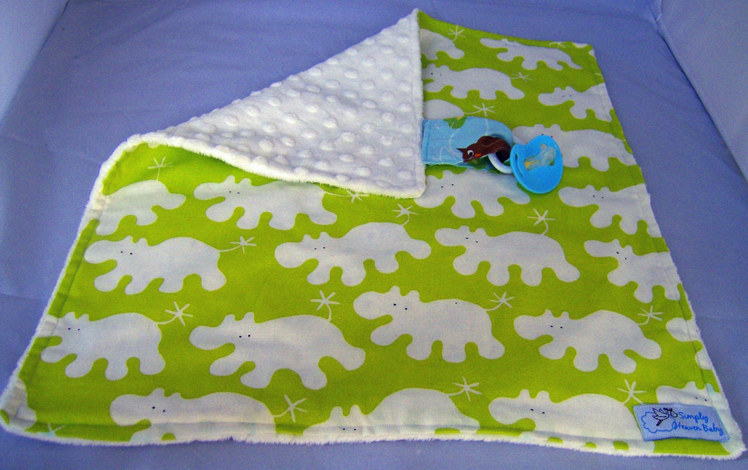Fun Animal Print Lovey/Security Blanket with Pacifier Holder