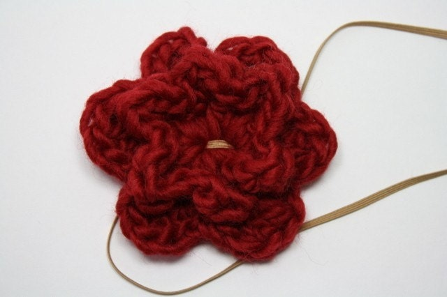 Hand Crocheted Flower Headband or Clip