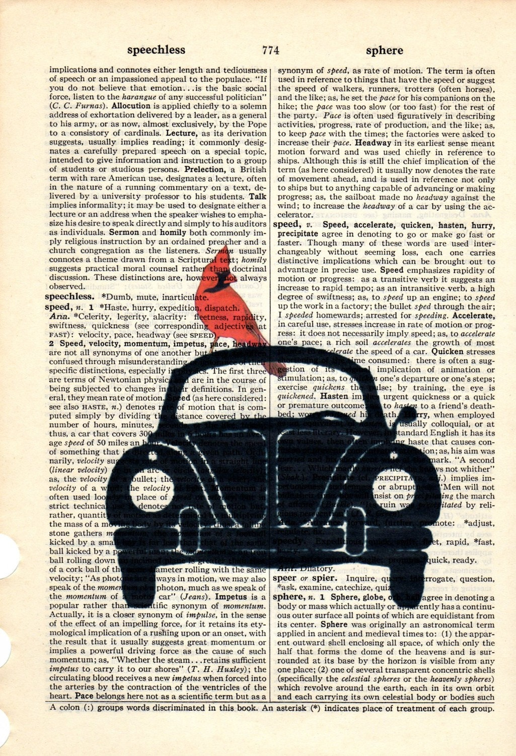 Ride a Bug VW Dictionary Book Page Collage