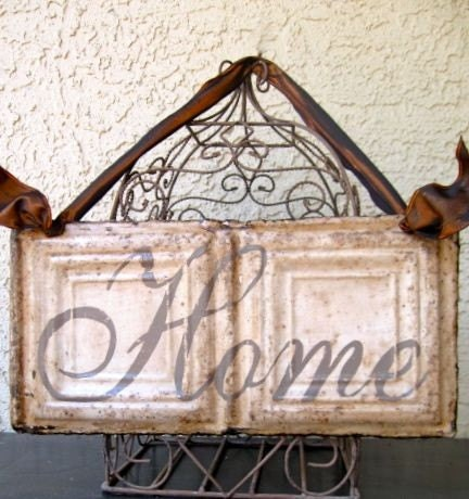 HOME Sign made with Antique Ceiling Tin Tile / Architectural Salvage Home Decor