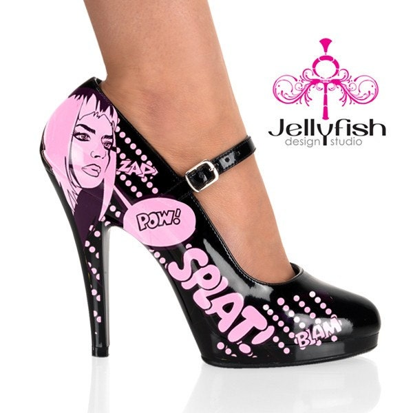 HAND PAINTED - Mary Jane Comic Book Heels (IN BLACK AND PINK)