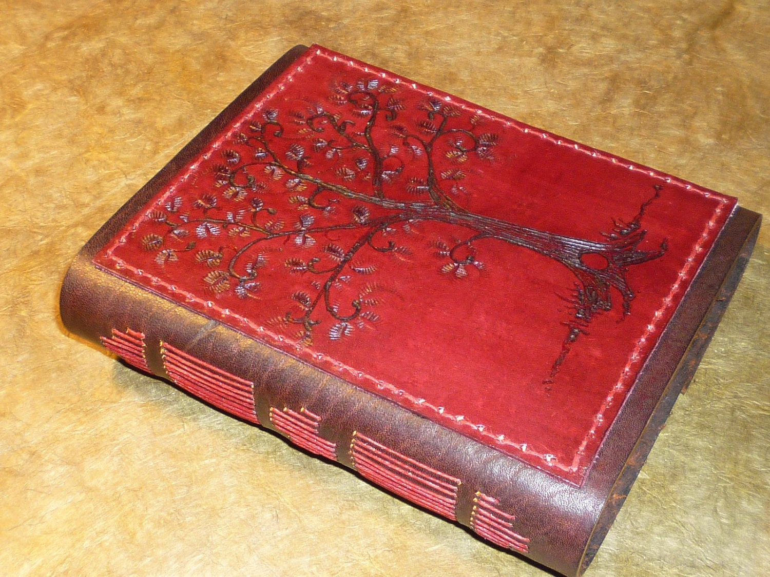Fiery Tree of Life, Leather Book, Journal, Diary, or Sketchbook