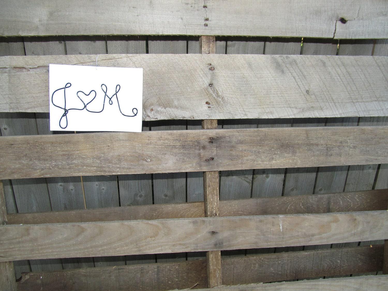 Initials Heart Wire Wall Art