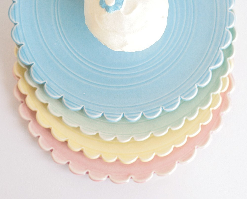 Pottery Dishes - Set of 4 - Un-matchy Spring Colors