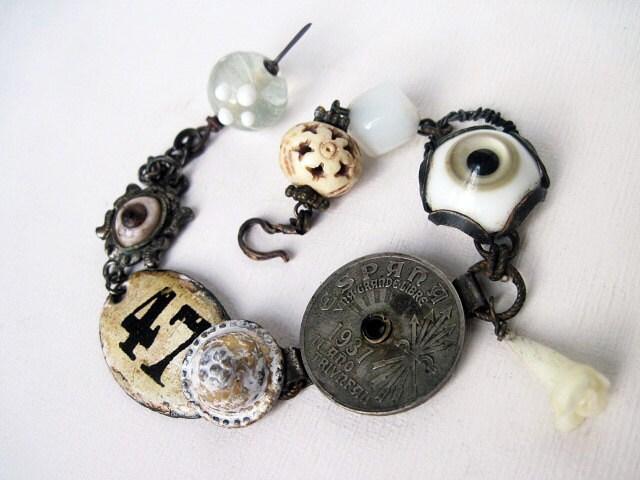 The Vision. Victorian Tribal Antique Assemblage Bracelet.