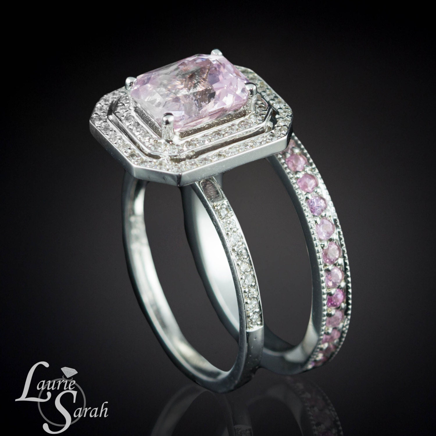 radiant cut light pink sapphire engagement by