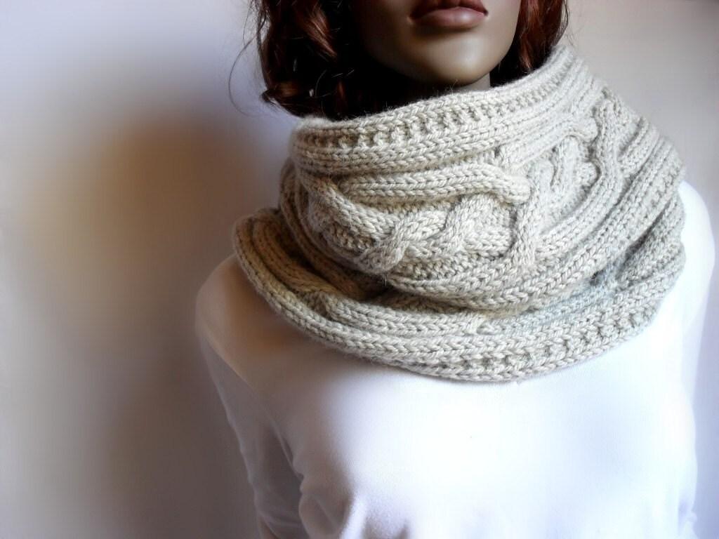 Knitting Pattern Cable Knit Cowl Vest : Items similar to Hand Knit Cowl Cable Knit Womens Vest Wool Knit Scarve Many ...