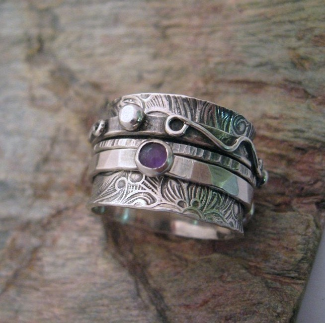 Spinning Band Twiddle Ring with gem stones, Argentium Sterling - FREE Shipping