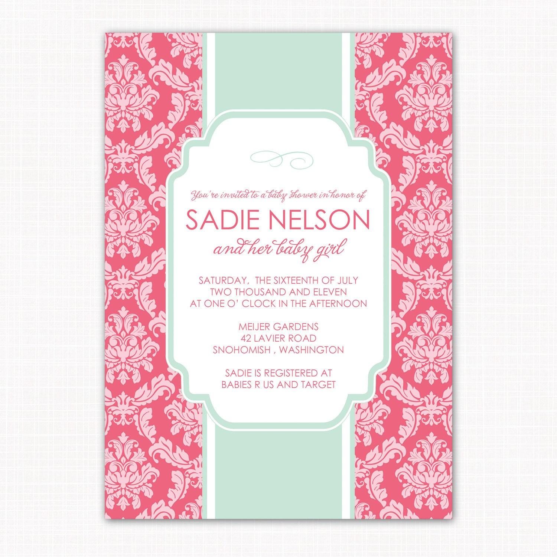 baby girl shower invitation garden damask by saralukecreative